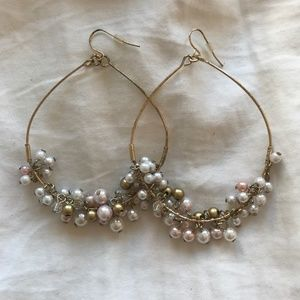 Statement Earrings! Gold Hoops/Pink & White Pearls